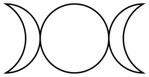 The Triple Goddess (or triple moon) representing the waxing, full, and waning phases of the moon.