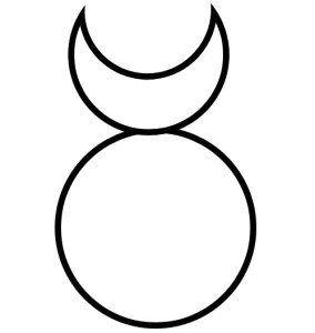 A circle atop which is a crescent-shaped object representing horns. This is the most common symbol of the Horned God.